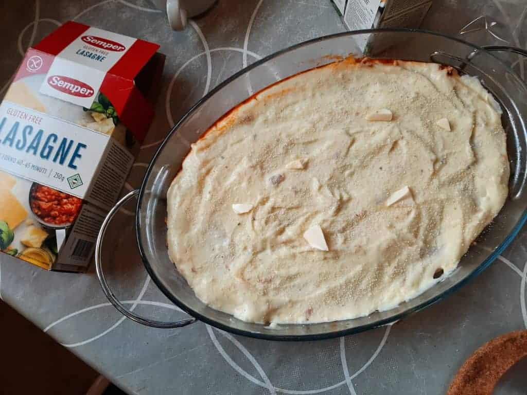 Glutenfri lasagne klar til ovnen